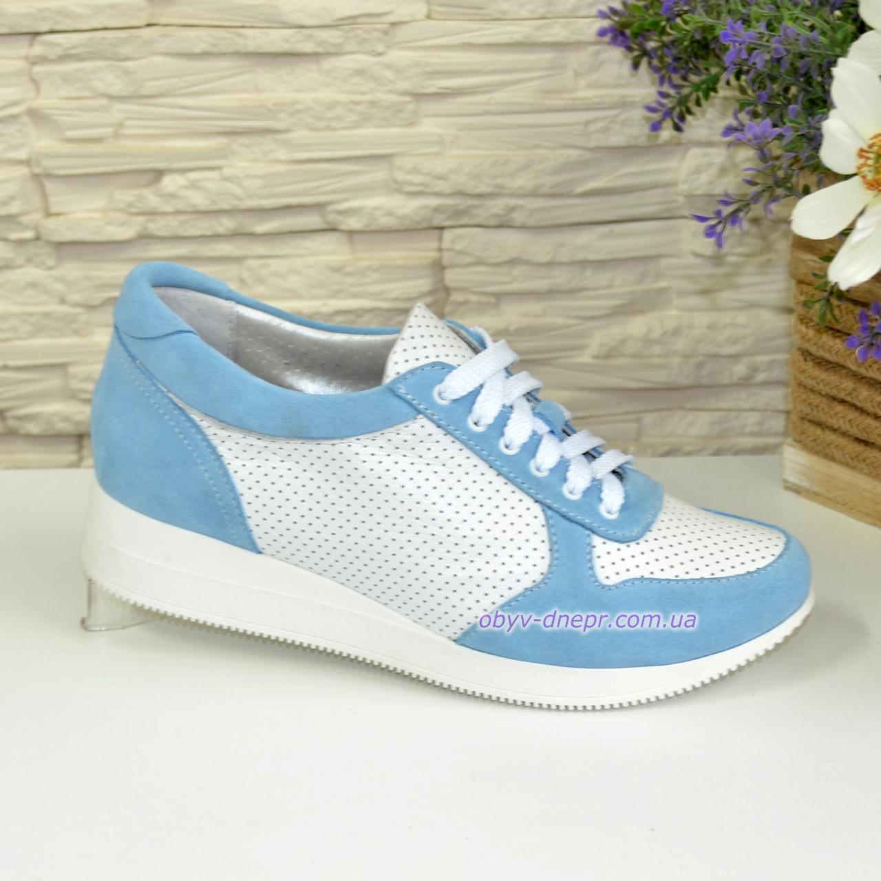 Стильные кроссовки женские на шнуровке, цвет голубой белый  продажа ... 49eff4fcc5a