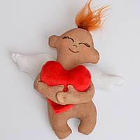 """Мягкая игрушка """"Ангелочек с сердцем"""". Подарок на 14 февраля. Ручная работа. Кофейная игрушка. Для девушки."""