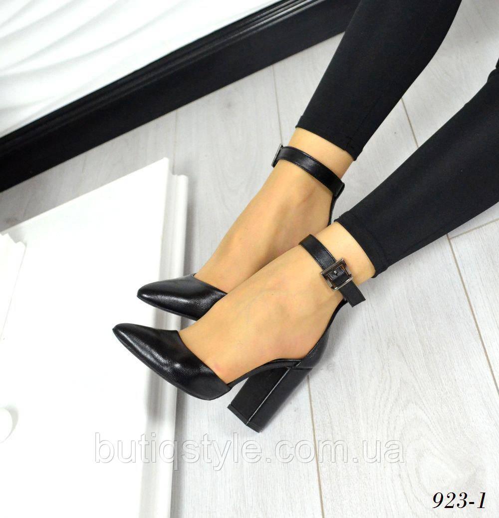 35 размер! Женские черные туфли MoniC , Натуральная кожа