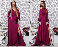 Вечернее шелковое платье в пол с пышной юбкой и открытыми плечиками Smmil2403