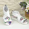 Кожаные женские босоножки римлянки, цвет цветы/белый, фото 2