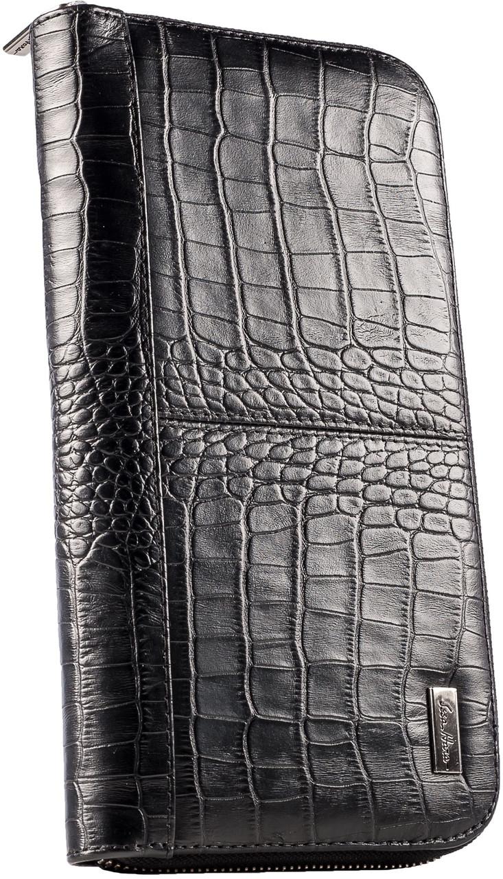 Кожаный клатч, барсетка ISSA HARA из кожи CL2 21-00 черная
