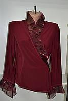 Блуза женская масло  длинный рукав бордового цвета, фото 1
