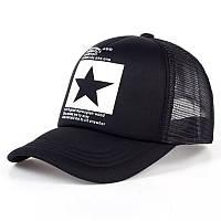 Кепка тракер Звезда с сеточкой Черно-белая, Унисекс