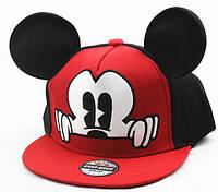 Детская кепка снепбек  с ушками Микки Маус с прямым козырьком Красная, Унисекс