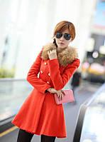 Шерстяное женское пальто мех, фото 1