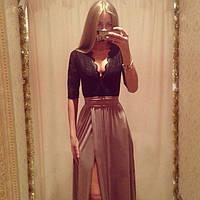 Платье длинное макси с боковым разрезом и кружевом