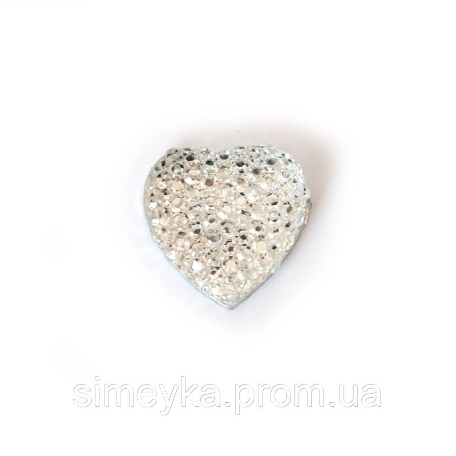 Камень декоративный в форме сердца со стразами, диаметр 16 мм. Белый (серебристый)