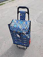 Сумка- тачка на колесах (большая) абстракция  синь   53х36х21 см