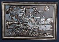 """Объемная картина-панно """"Прага над Влтавой"""". Объемные и структурные пасты, акрил, поталь, битум. 36х52 см с рам"""