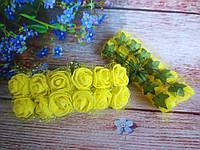 Декоративные розы из латекса 12 шт., d 2 см на ножке, желтого цвета с фатином