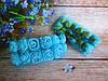 Декоративные розы из латекса 12 шт., d 2 см на ножке, голубого цвета с фатином
