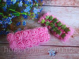 Декоративні троянди з латексу 12 шт., d 2 см на ніжці, рожевого кольору з фатином