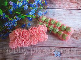Декоративні троянди з латексу 12 шт., d 2 см на ніжці, персикового кольору без фатину