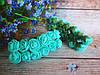 Декоративные розы из латекса 12 шт., d 2 см на ножке, бирюзового цвета