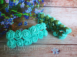 Декоративні троянди з латексу 12 шт., d 2 см на ніжці, бірюзового кольору