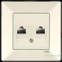 Розетка компьютерная двойная (Cat5) Viko Meridian (крем)