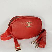 Женская сумка бананка Chanel (Шанель), красный