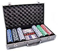 Покерный набор в алюминиевом кейсе (2 колоды карт + 300 фишек)(38х22,5х6,5 см)