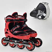 """Ролики 6014 """"L"""" КРАСНЫЕ - Best Roller (размер 39-42) колёса PU, без света, d=9см"""