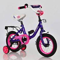 """Велосипед 12"""" дюймов 2-х колёсный С12010 """"CORSO"""" ФИОЛЕТОВЫЙ, звоночек, сидение с ручкой, доп. колеса"""