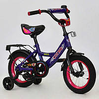 """Велосипед 12"""" дюймов 2-х колёсный С12080 """"CORSO""""СИРЕНЕВЫЙ, звоночек, сидение с ручкой, доп. колеса"""