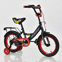 """Велосипед 14"""" 2-х колёсный С14340 """"CORSO"""" ЧЕРНЫЙ, ручной тормоз, звоночек, сидение с ручкой, доп. колеса"""