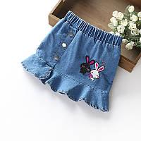 Юбка детская джинсовая с вышивкой, фото 1