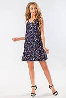 Платье с бантом на спине цветы на темно-синем, фото 1