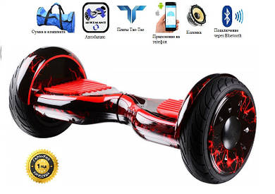 """Гироскутер Smart Balance SUV 10.5"""" Premium красная молния. С приложением TaoTao. С самобалансировкой."""