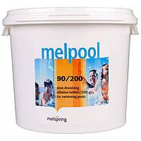 Химия для бассейна Melpool (Melspring) 90/200 - Длительный хлор стабилизированный, таблетки по 200 гр 5 кг