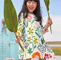 Платье Цветы с длинным рукавчиком (бел) 110