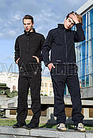 Soft Shell Мужская зимняя куртка на флисе влагоустойчевая MAW man&wolf синие navi tactic 5.11 +подарок