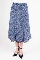 Женская юбка на резинке синего цвета Годе №8  (О.М.Д.)