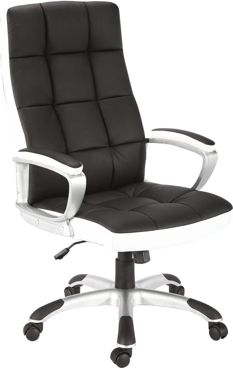 Кресло Холтон к/з чёрный высокая боковая к/з белый.