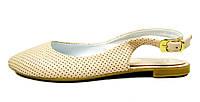 Женские кожаные босоножки цвета пудра LEONY с закрытым носком , фото 1