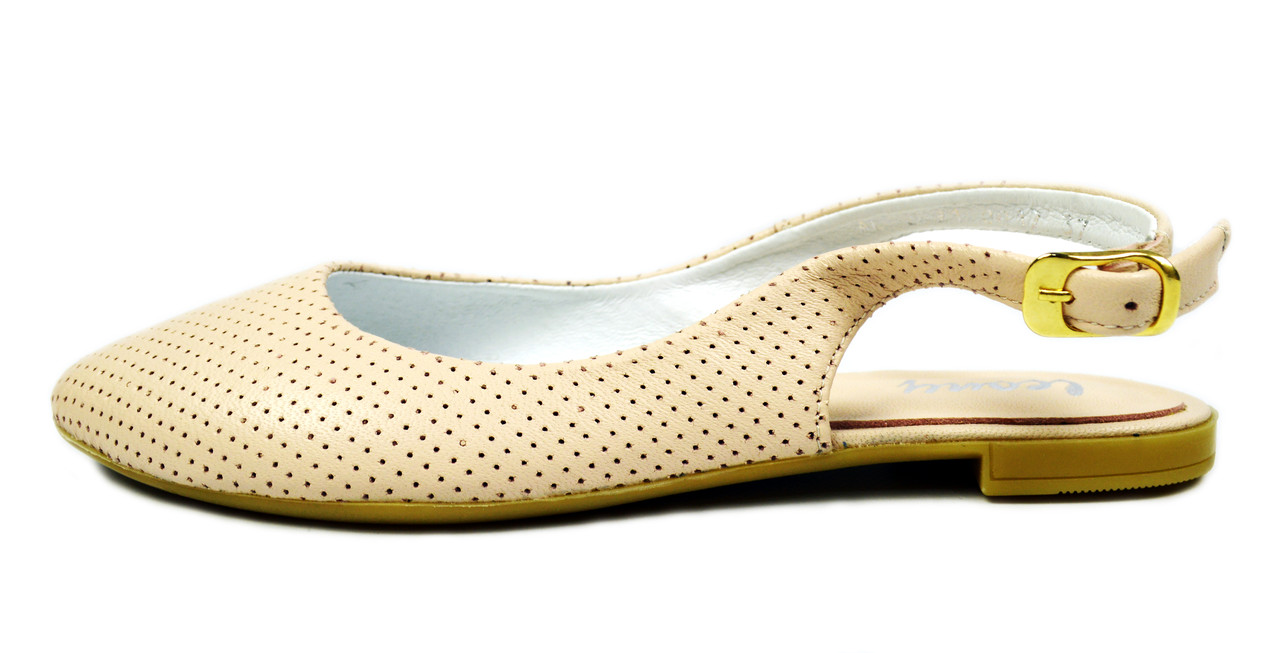 Женские кожаные босоножки цвета пудра LEONY с закрытым носком