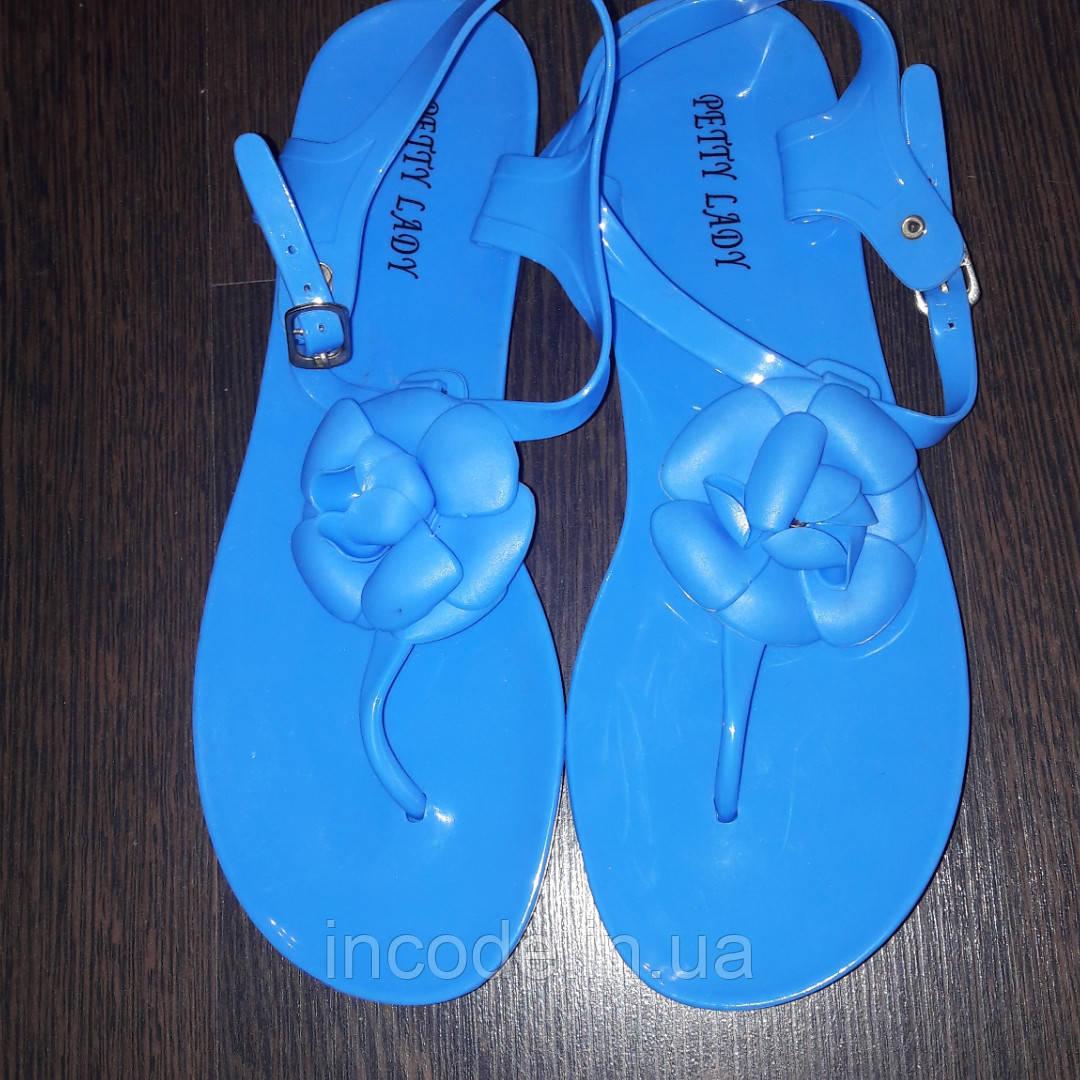 Голубые силиконовые босоножки  36 38р