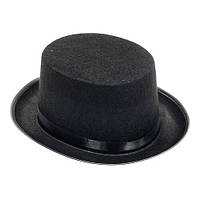 НИЗКИЙ ЧЕРНЫЙ ЦИЛИНДР. Шляпа  синт. ткань