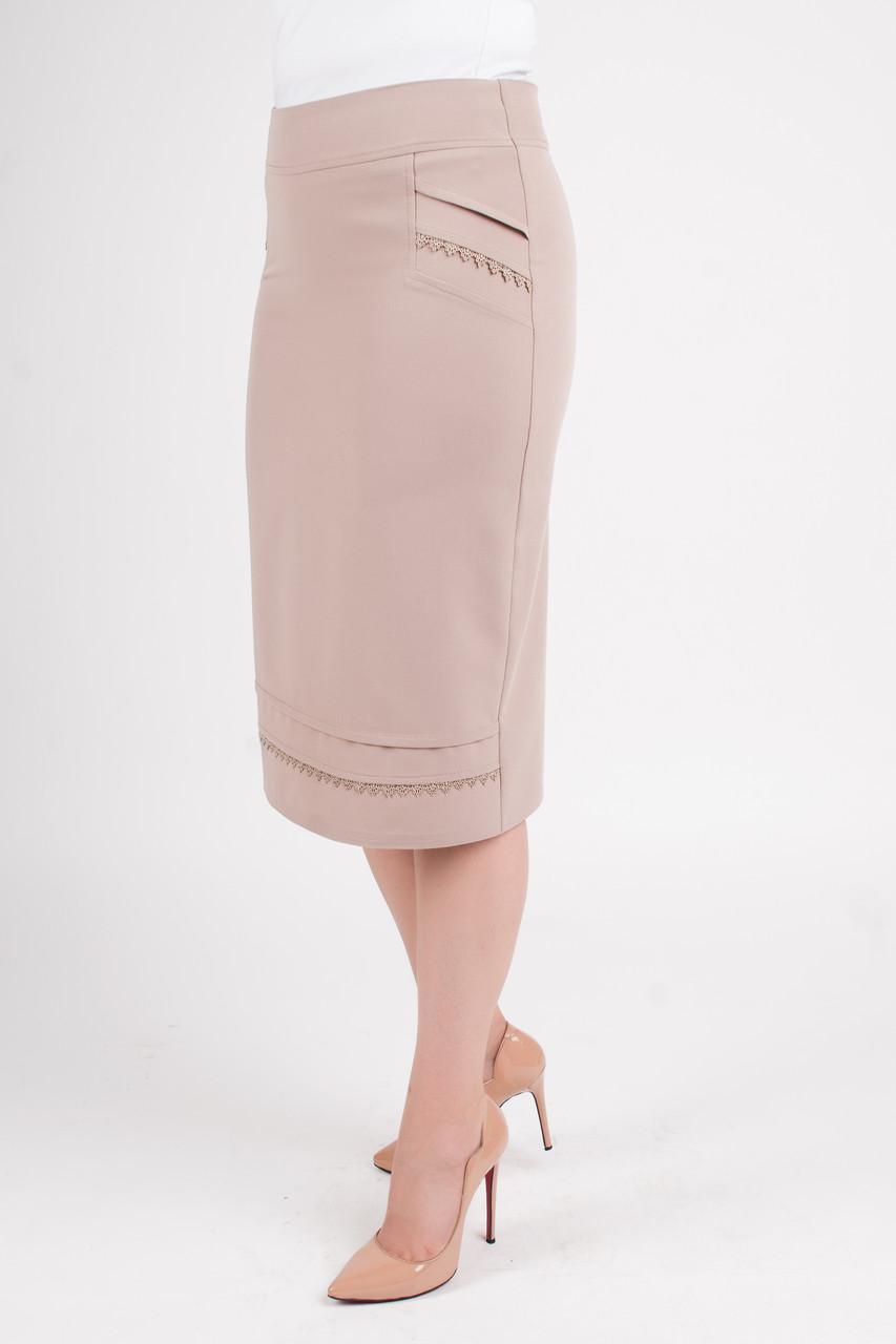 Классическая юбка с отделкой из кружева Ванда бежевого цвета