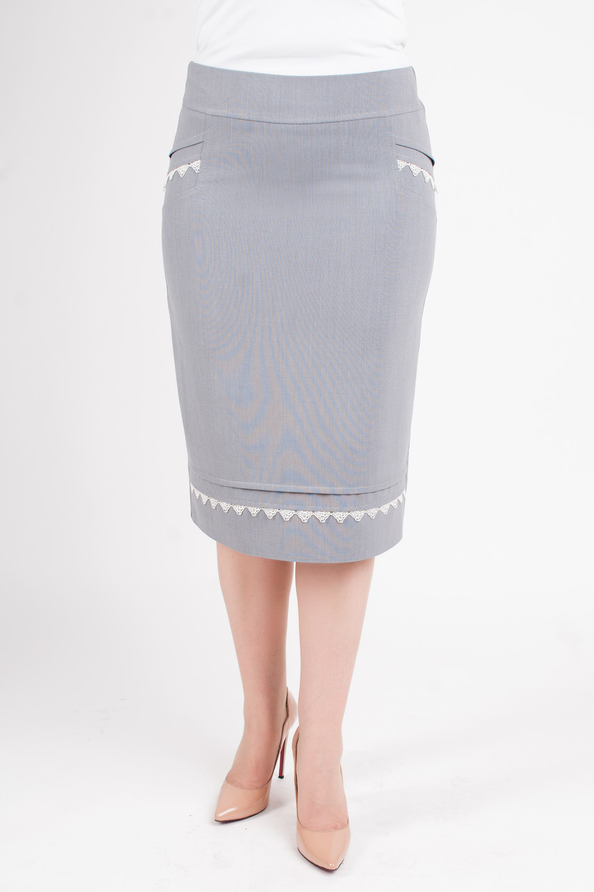 Классическая юбка с отделкой из кружева Ванда серого цвета