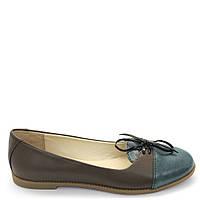 Туфли кожаные коричневые с синей вставкой