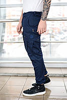 Брюки карго мужские BRASH милитари синий MAW Manandwolf Cargo pants cotton