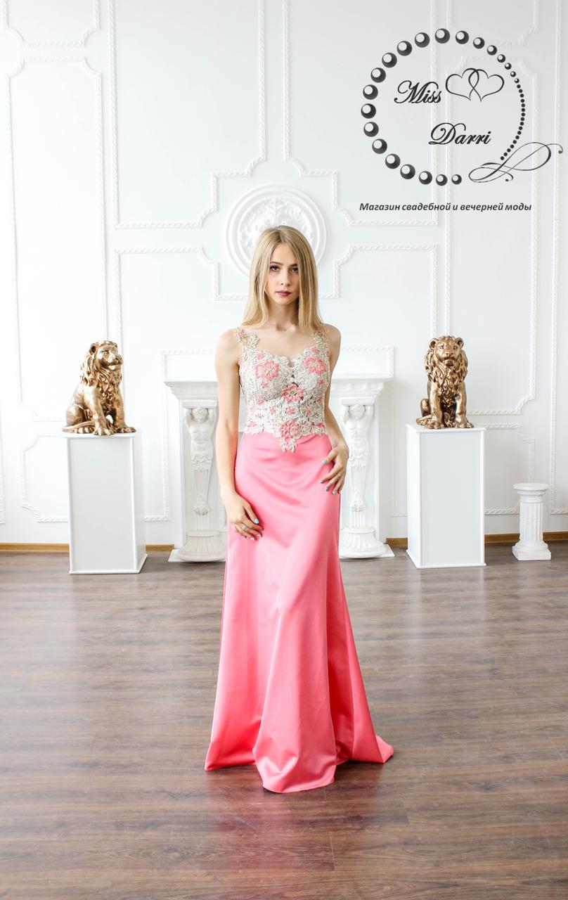 Вечернее выпускное платье коралловое с золотым