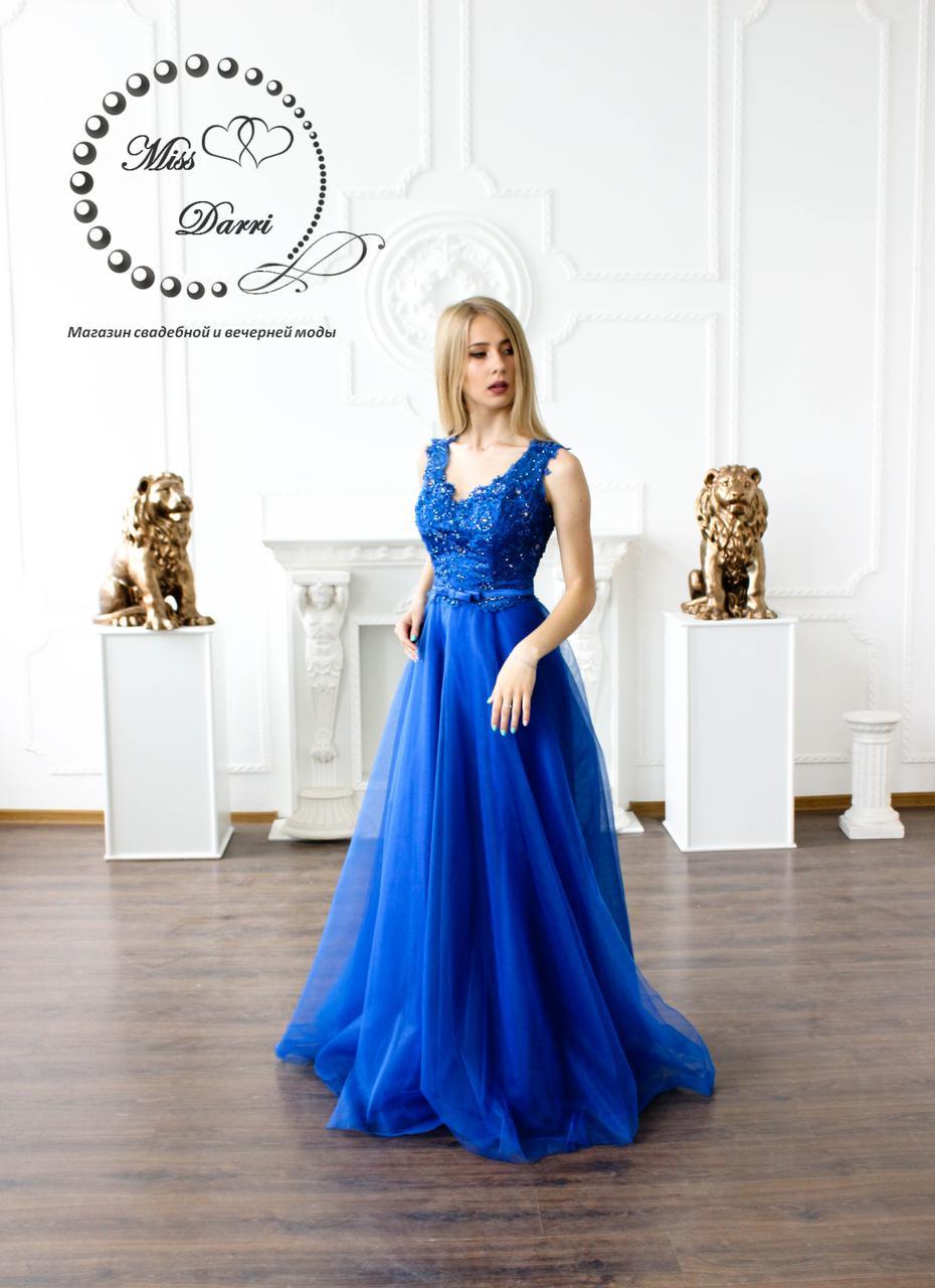 Вечернее платье выпускное платье синее (электрик)