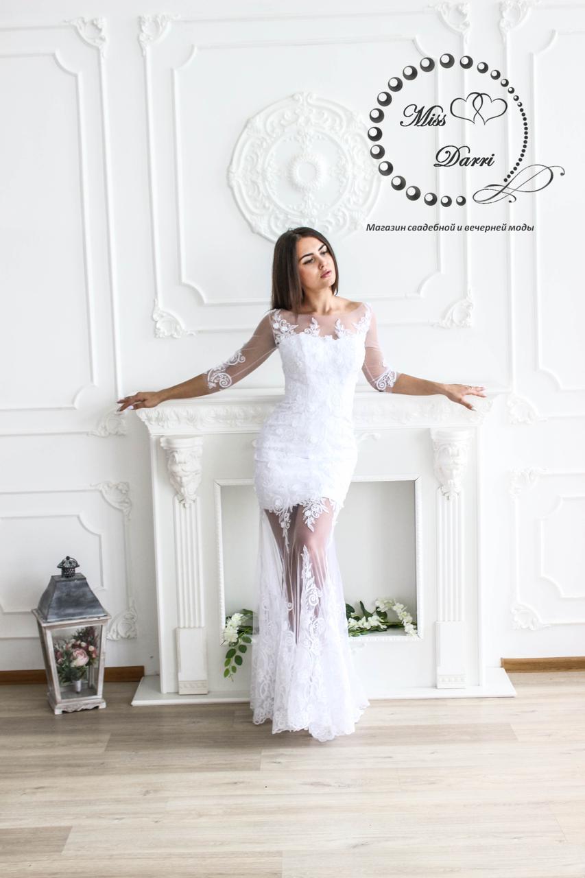 Свадебное платье рыбка кружевное с прозрачными ножками, фото 1
