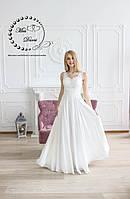 Легкое свадебное платье ампир айвори с гипюром и паетками