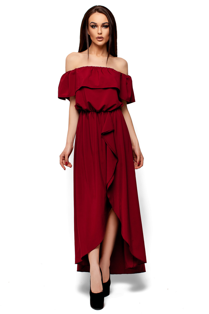 Платье в пол с разрезом спереди и воланом Karree Астарта марсала