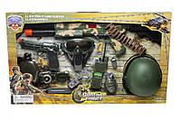 Военный набор детский для мальчика - нож, орден, военная каска, наручники, пистолет, специальные часы