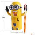 Детский Диспенсер для зубной пасты Миньен желтый + держатель зубных щёток, фото 2
